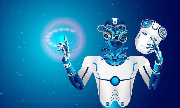 Robot usuwa maskę antropomorficzną.