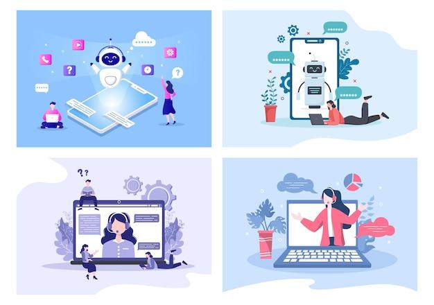 Robot virtual assistance lub chatbot tło wektor ilustracja. rozmowa ludzi na smartfonie z pomocą techniczną online i wiadomościami