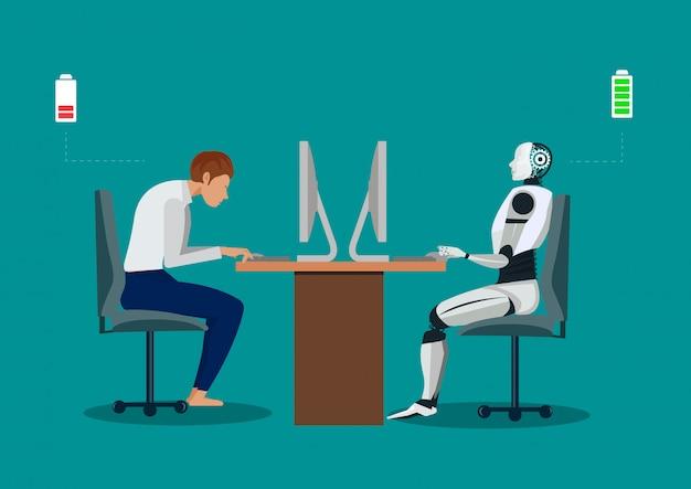 Robot vs człowiek. ludzki robot humanoidalny pracuje z laptopami przy biurku.