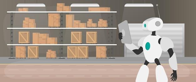 Robot w magazynie produkcyjnym. robot trzyma tablet. futurystyczna koncepcja dostawy, transportu i załadunku towarów. duży magazyn z szufladami i paletami. wektor.