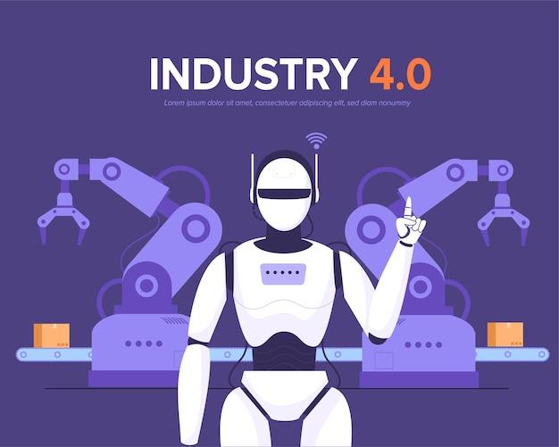 Robot W Wydajnej Inteligentnej Fabryce Przenośnika Produkcyjnego Darmowych Wektorów