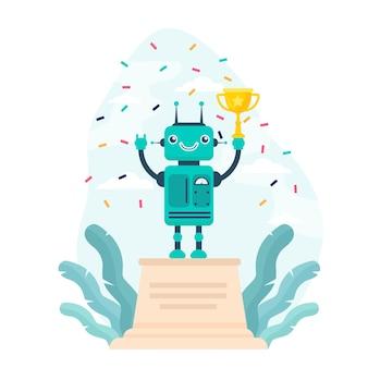 Robot wygrywający złoty puchar