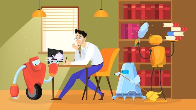 Robot wykonuje prace domowe. koncepcja automatyzacji sprzątania domu