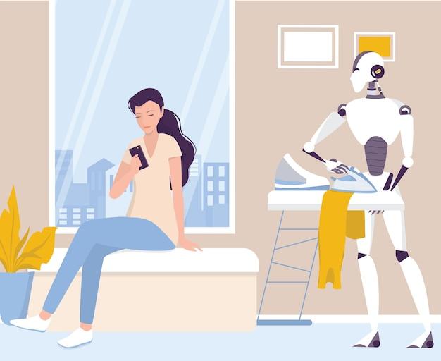 Robot wykonuje prace domowe. zautomatyzowane sprzątanie. prasowanie ubrań za pomocą robota. ai pomaga ludziom w ich życiu, przyszłości technologii i koncepcji stylu życia. ilustracja