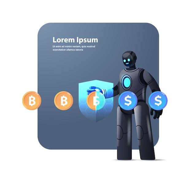 Robot z ochroną tarcza wymiana dolara na bitcoin krypto waluta pieniądze elektroniczne oszczędności finansowe ubezpieczenie sztuczna inteligencja