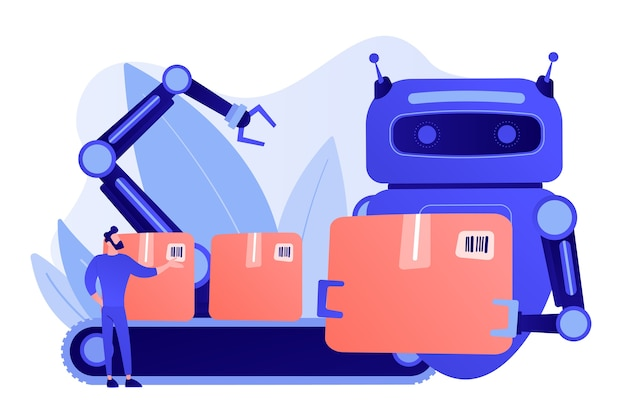 Robot zastępujący człowieka pracującego ze skrzyniami na przenośniku taśmowym i ramieniu robota. substytucja pracy, człowiek kontra robot, koncepcja kontroli pracy robotyki