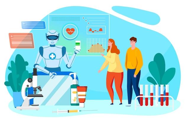 Robot zdrowie technologia koncepcja ilustracji wektorowych lekarz sztuczny umysł daj mieszkanie mężczyzna kobieta...