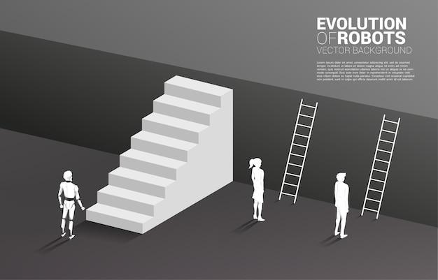 Robot ze schodami i biznesmen z drabiną, aby przejść na górny poziom podłogi. koncepcja biznesowa uczenia maszynowego i sztucznej inteligencji ai. człowiek kontra robot.