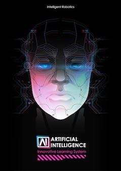 Robot ze sztuczną inteligencją pracujący z wirtualnym interfejsem.