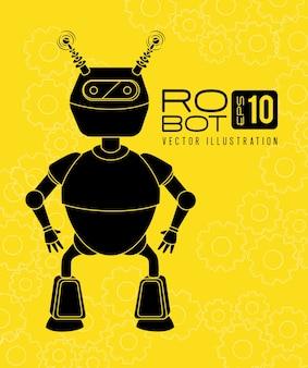 Robota projekt nad żółtą tło wektoru ilustracją
