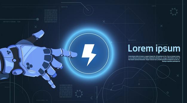 Robotic hand touch web button lightning na digital banner banner