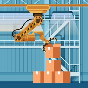 Robotic Packing Claw Lifting Otwarte pudełko kartonowe