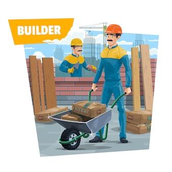 Robotnicy budowlani, murarz z taczką
