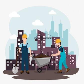 Robotnicy budowlani z pod ikonami budowy