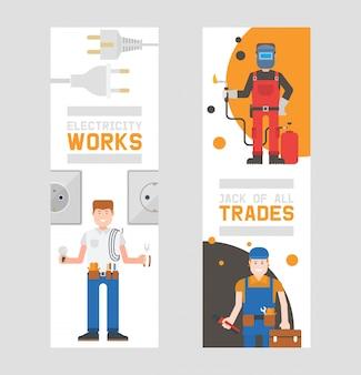 Robotnicy budowniczowie i inżynierowie z zestawem narzędzi lub wyposażenia pionowych banerów pracownicy w kaskach i mundurach roboczych posiadają zestaw z zapasami.