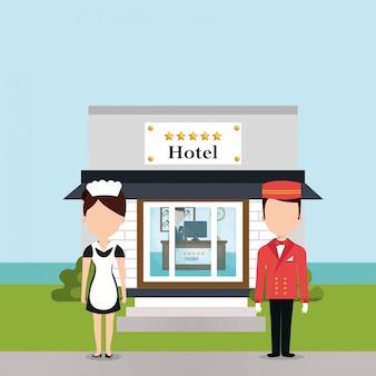 Robotnicy hotelowi postacie awatary