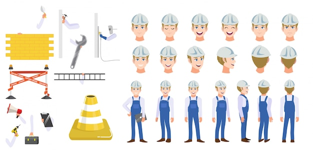 Robotnik budowlany zestaw znaków kreskówek