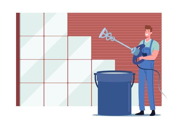 Robotnik lub złota rączka wykonawca postać męska w mundurze i kasku stoisko przy mieszaniu wiadra zaprawy cementowej ze specjalnym wyposażeniem do prac renowacyjnych układania płytek ceramicznych