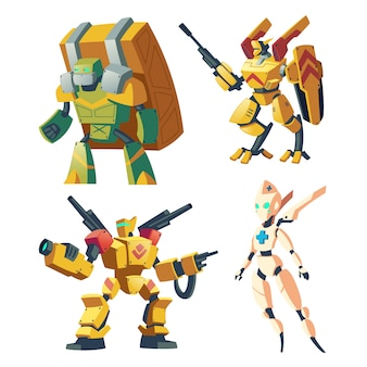 Roboty bojowe z kreskówek dla gier rpg. bitwa androidy.