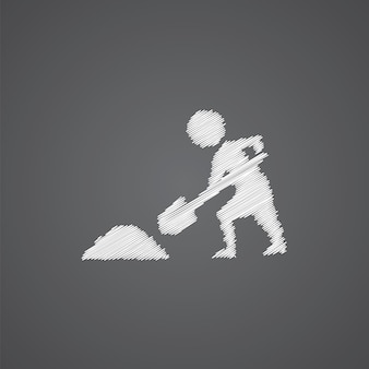 Roboty budowlane szkic logo doodle ikona na białym tle na ciemnym tle