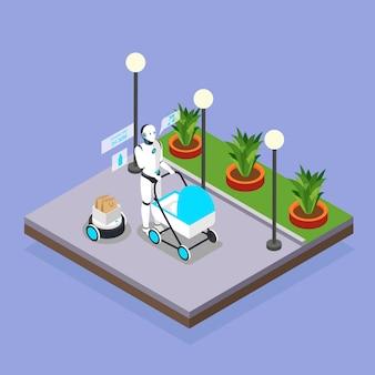 Roboty domowe opiekujące się kompozycją tła izometrycznego dzieci z humanoidalną opiekunką spacerującą z wózkiem