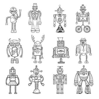 Roboty doodle stile czarne ikony ustaw