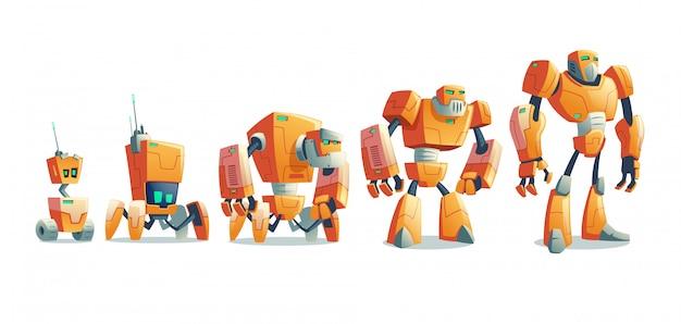 Roboty ewolucja linii kreskówka wektor koncepcji
