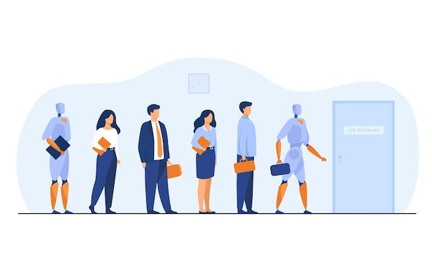 Roboty i ludzie czekają w kolejce na rozmowę kwalifikacyjną. biznesmeni i kobiety biznesu konkurują o wynajem maszyn. ilustracja wektorowa do zatrudnienia, biznesu, koncepcji rekrutacji