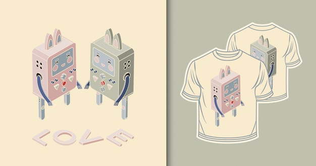 Roboty - króliki. projekt izometryczny
