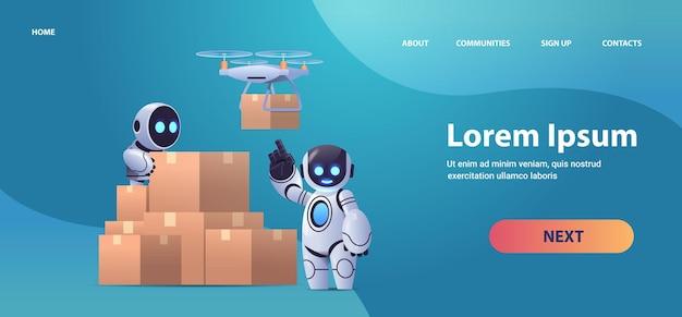 Roboty kurierzy przy kartonach poczta lotnicza dron szybka dostawa przesyłka technologiczna sztuczna inteligencja