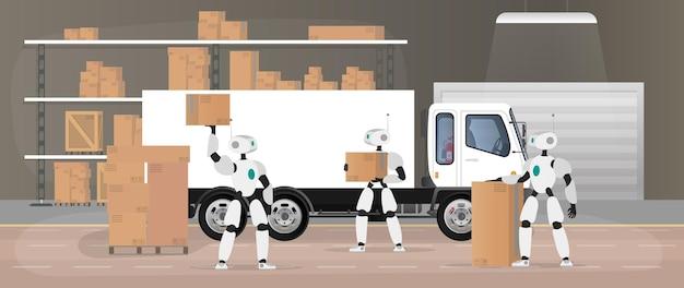 Roboty pracują w magazynie produkcyjnym. roboty przenoszą pudła i podnoszą ładunek. futurystyczna koncepcja dostawy, transportu i załadunku towarów. duży magazyn z pudłami i paletami. wektor.