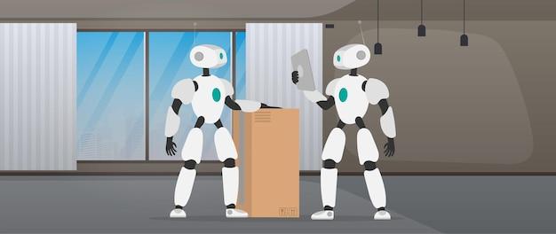 Roboty pracują w magazynie produkcyjnym. roboty przenoszą pudła i podnoszą ładunek. futurystyczna koncepcja dostawy, transportu i załadunku towarów. wektor.