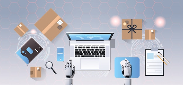 Roboty ręce za pomocą laptopa zakupy online ekspresowa wysyłka dostawa bota usługi koncepcji