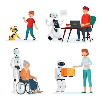 Roboty wchodzą w interakcję z ludźmi w różnych sytuacjach. wektor inteligencji pomocnik i kurier, ilustracja komputerowa dla zwierząt domowych