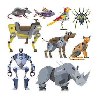 Roboty wektor kreskówka roboty dzieci zabawki zwierząt postać kot pies robotyka potwór