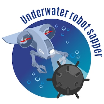 Roboty wojskowe okrągłe z wizerunkiem podwodnego sapera robota neutralizującego izometrycznie kopalnię