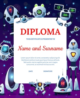 Roboty z kreskówek, dyplom edukacji dla dzieci lub osiągnięcie