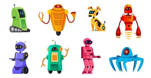Roboty z kreskówek. roboty botów, robotów domowych i robotów android bot postaci technologii zestaw ilustracji