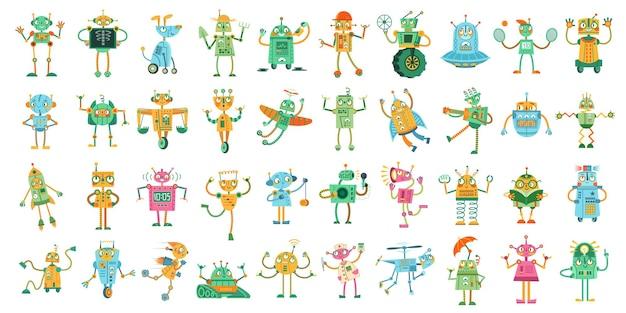 Roboty z kreskówek. urocza zabawka robot dla dzieci, zestaw ilustracji robotyki i mechanicznych zabawek robotów.