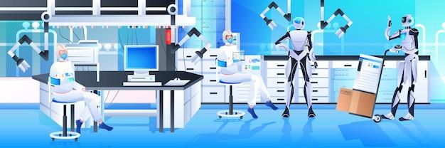 Roboty z naukowcami w kombinezonach ochronnych przeprowadzają eksperymenty w laboratorium inżynierii genetycznej koncepcja sztucznej inteligencji pozioma pełna długość