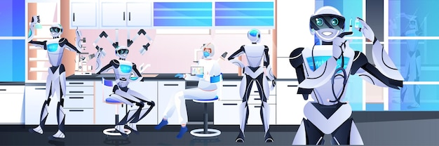 Roboty z naukowcem w kombinezonie ochronnym przeprowadzają eksperymenty w laboratorium inżynierii genetycznej koncepcja sztucznej inteligencji pozioma pełna długość