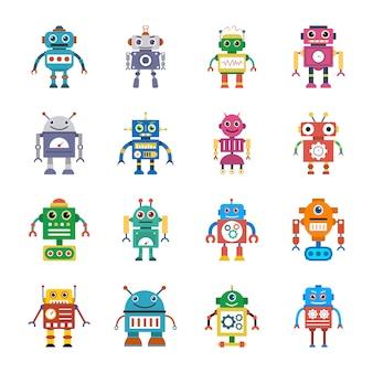 Robotyczne płaskie ikony