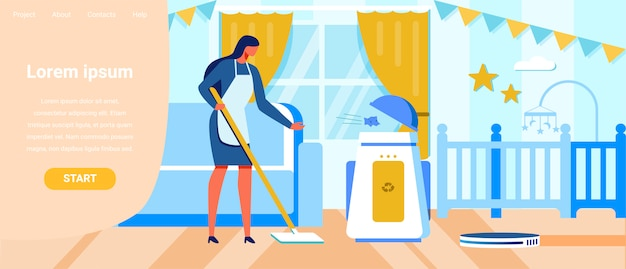 Robotyczne urządzenia domowe do reklamy na stronie docelowej