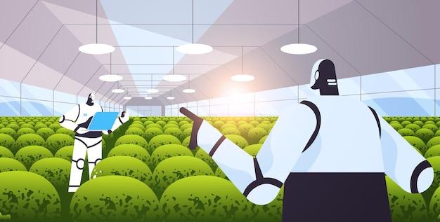 Robotyczni inżynierowie rolni badający rośliny w szklarni naukowiec rolniczy technologia sztucznej inteligencji