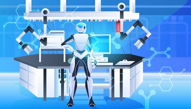 Robotyczny lekarz chirurg w klinice sala chirurgiczna medycyna opieka zdrowotna koncepcja technologii sztucznej inteligencji