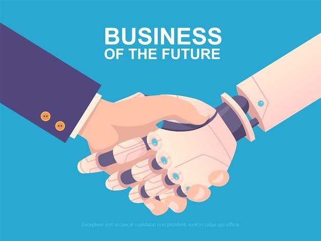 Robotyczny uścisk dłoni. partnerzy robot maszyna i ludzkie tło biznesowe. ilustracja partnerstwa robota, współpraca uścisk dłoni człowieka i robotycznej ręki