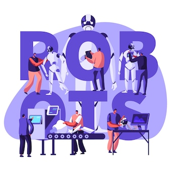 Robotyka inżynieria sprzętu i oprogramowania w laboratorium z koncepcją wyposażenia hi-tech. płaskie ilustracja kreskówka