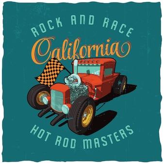 Rock and race plakat w kalifornii z wizerunkiem samochodu na niebieskim polu