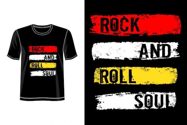 Rock and rock typografia do koszulki z nadrukiem