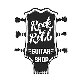 Rock and roll. główka gitary z napisem. elementy logo, etykiety, godła, znaku, plakatu. wizerunek